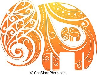 Vector illustration with ornamental elephant figure pregnant with baby
