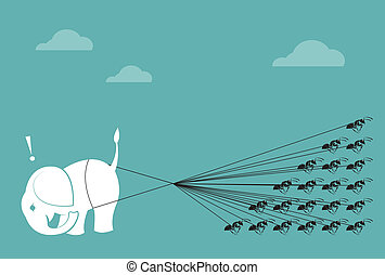 Elephant and ant rope pulling together. Concept of unity