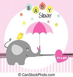 elephant and bird with umbrella
