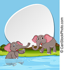 Elephant and blank banner