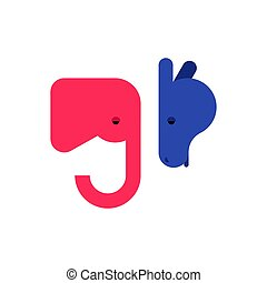 Elephant and Donkey icon. Democrat and Republican sign. Political patriotic animal