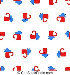 Elephant and Donkey pattern seamless. Democrat and Republican background. Political patriotic texture