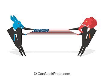 Elephant and donkey pulled american flag. Democrats and Republicans share electorate. Two people pulling USA flag. Section countries. Illustration for  elections. Debate symbol of political parties