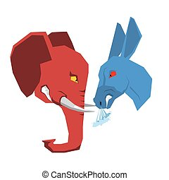 Elephant and Donkey. Republicans and Democrats opposition. Political debate in America. Illustration of USA elections