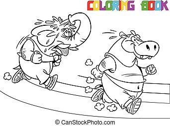 elephant and hippopotamus on a trea