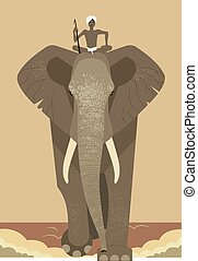 Elephant and mahout  on a yellow background