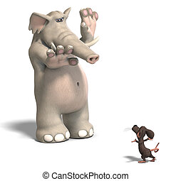 elephant and mouse - a funny cartoon elephant is scared by a...
