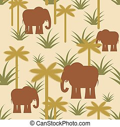 Elephant and palm Military camouflage background. Protective African seamless pattern. Savanna Army soldier texture for clothes