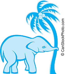 Elephant and palm tree