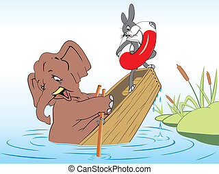 Elephant and rabbit drown in a boat on the lake because of the gravity of the elephant