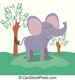 elephant animal caricature in forest landscape background
