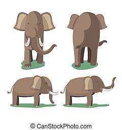 Elephant Animal Character Isolate Set Vector