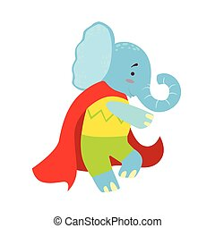 Elephant Animal Dressed As Superhero With A Cape Comic Masked Vigilante Character
