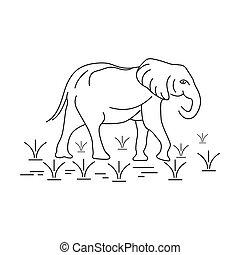 elephant animal outline logo design