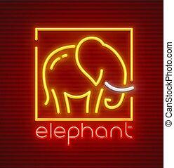 Elephant animal silhouette neon sign icon - Elephant animal...