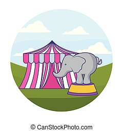 elephant animal with tent circus in frame circular