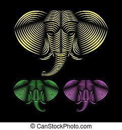 elephant art ,animal lin...