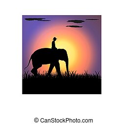 elephant Asia walking, graphics disign vector Illustration...