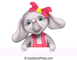 Elephant  baby girl cartoon with poster , 3d rendering
