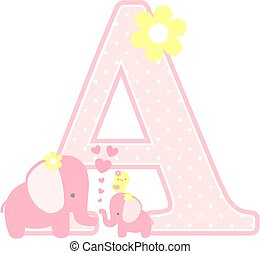 elephant baby girl initial a