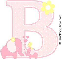 elephant baby girl initial b