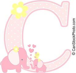 elephant baby girl initial c