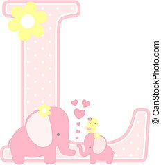 elephant baby girl initial l