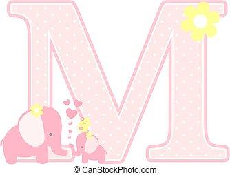 elephant baby girl initial m