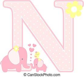 elephant baby girl initial n