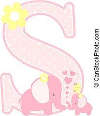 elephant baby girl initial s