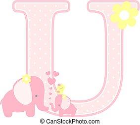 elephant baby girl initial u