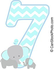 elephant baby number 7 - number 7 with cute elephant and...