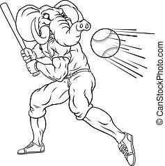 Elephant Baseball Player Mascot Swinging Bat
