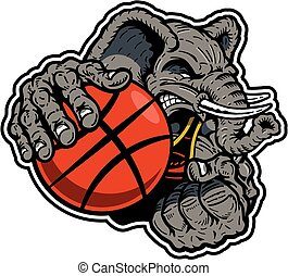 elephant basketball player - muscular elephant basketball...