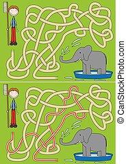 Elephant bath maze