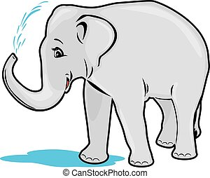Elephant bathing. Vector illustration