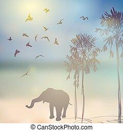 Elephant, birds, palm silhouette on sunny sky and beach background. Vector