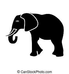 Elephant black color icon .