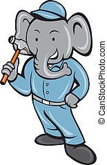Elephant Builder Holding Hammer Cartoon