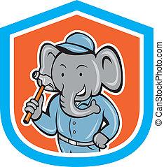 Elephant Builder Holding Hammer Crest Cartoon