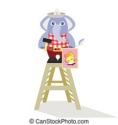 Elephant builder on a white background. children s illustration. is used to print, website, smartphone, design, textiles, ceramics, fabrics, prints, postcards, packaging, etc.
