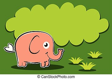 elephant cartoon character on grass with balloon text