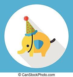 elephant cartoon flat icon