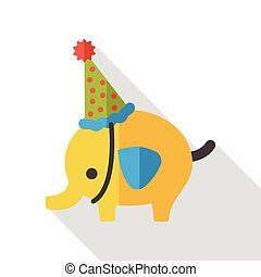 elephant cartoon flat icon