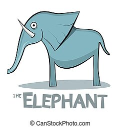 Elephant Cartoon - Vector Illustration on White Background