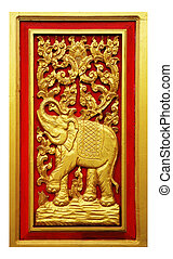 Elephant carved gold paint on door