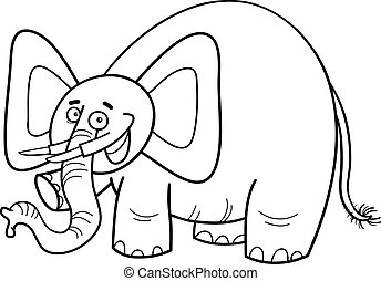 elephant character coloring page