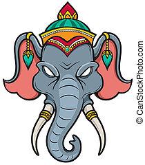 elephant head (indian elephant) clip art vector - Search ...