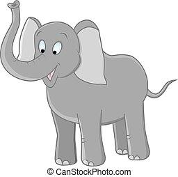 elephant - vector illustration of funny grey elephant on...
