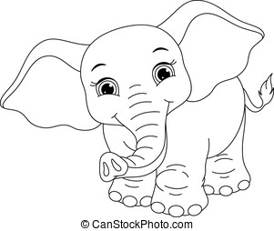 Baby elephant coloring page. Cute little elephant bathing eps vector ...